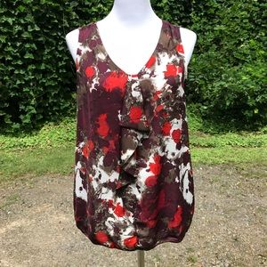 F Blouse Fall Floral Sleeveless Top Brown M